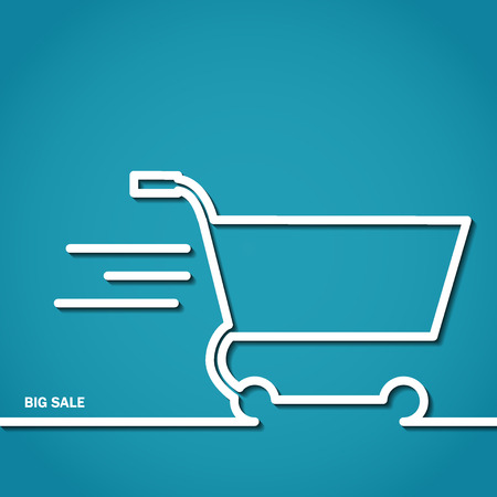 simple store: Vector Illustration of Shopping Cart Icon Outline for Design, Website, Background, Banner. Logo of Big Sale symbol silhouette Element Marceting Template Illustration