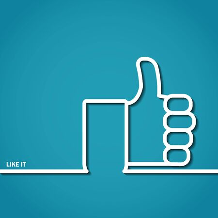 tumb: Vector Illustration of Thumb Up Outline for Design, Website, Background, Banner. Logo of Success symbol silhouette Element  social media Template Illustration