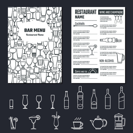 Vektor-Abbildung der Getränkekarte für Design, Website, Hintergrund, Banner. Restaurant-Marken-Konzept Element Template mit Icon Getränke für Ihren Alkoholinfografik