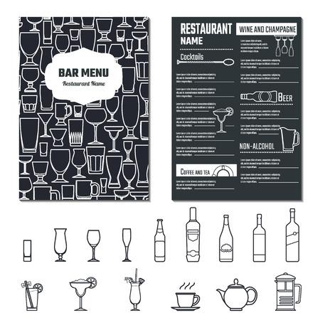 cocteles: Ilustraci�n del vector de bebidas Men� para dise�o, Web site, fondo, bandera. Restaurante Marca Concepto Plantilla Elemento con Icon Bebidas para su alcohol Infograf�a Vectores