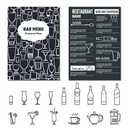 Vecteur de boissons Menu pour la conception, le site, de fond, bannière. Restaurant Marque Concept modèle Element avec l'icône boissons pour votre alcool Infographie