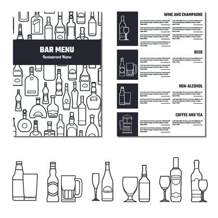 alcool: Vecteur de boissons Menu pour la conception, le site, de fond, bannière. Restaurant Marque Concept modèle Element avec l'icône boissons pour votre alcool Infographie