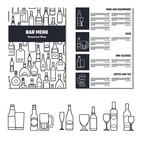 alcohol logo: Vector Illustration of Drinks Menu for Design, Website, Background, Banner.  Restaurant Brand Concept Element Template with Icon Beverage for your Alcohol Infographic