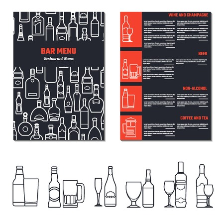 liquors: Vector Illustration of Drinks Menu for Design, Website, Background, Banner.  Restaurant Brand Concept Element Template with Icon Beverage for your Alcohol Infographic