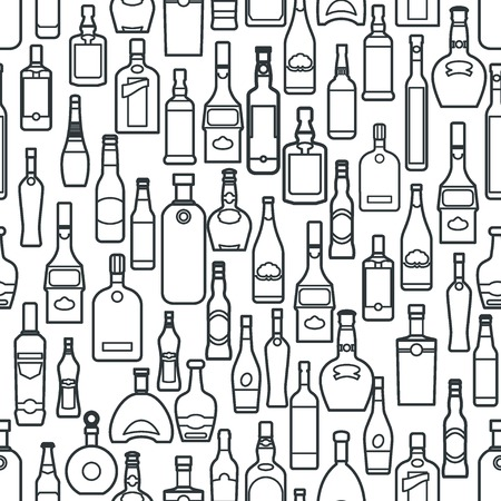바 병 원활한 패턴 개요 디자인, 웹 사이트, 배경, 배너의 벡터 일러스트 레이 션. Barman Infographc의 알코올 요소. 메뉴 또는 resturement 요소 템플리트. 바탕