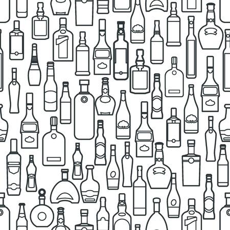 Vector Illustration of Bar Bottle Seamless Pattern Outline for Design, Website, Background, Banner. Alcohol Element for Barman Infographc. Menu or restaurent Element Template. Texture for Wallpaper