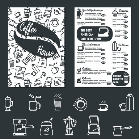 coffee shop: Vector Illustration of CoffeeHouse Menu Flyer for Design, Website, Background, Banner. Cofee Icon Element Template for Restaurant Brand. Cafe list of Beverage Illustration