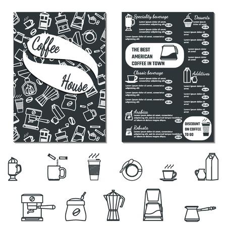beverage menu: Vector Illustration of CoffeeHouse Menu Flyer for Design, Website, Background, Banner. Cofee Icon Element Template for Restaurant Brand. Cafe list of Beverage Illustration
