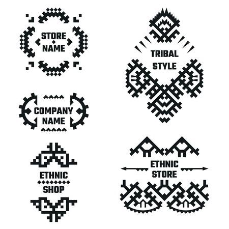 bordes decorativos: Ilustración vectorial de estilo étnico de diseño, Web site, fondo, bandera. Elementos tribales Negro y Blanco Plantilla para el logotipo de la compañía o marca Concept