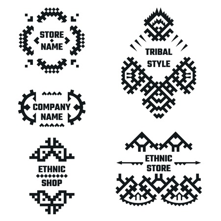 black borders: Vector Illustration of Ethnic Style for Design, Website, Background, Banner. Tribal Elements Black and White Template for Company Logo or Brand Concept