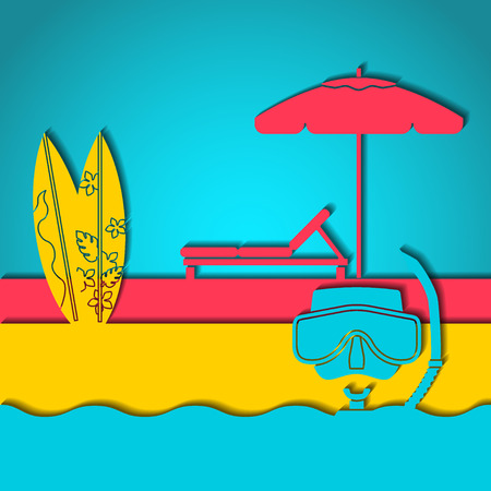 daybed: Vector Illustration of outline Summer Holyday Concept for Design, Website, Background, Banner. Silhouette Vacation  Element Template on Pink, Blue, Yellow Beach Resort