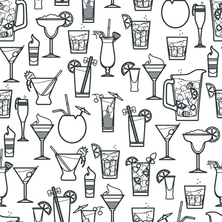 Vector Illustration of Cocktail Seamless Pattern Outline for Design, Website, Background, Banner. Bar Element for Menu or Infographic Template. B-52, bloody Mary,  Pina colada, kir, Long Island