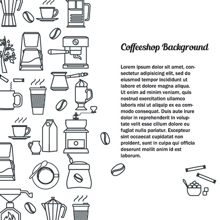 coffe beans: Vector Illustration of Coffee Outline concept for Design, Website, Background, Banner. Coffe beans Element Template for you Restaurant Menu or Infographic. Hot cup.