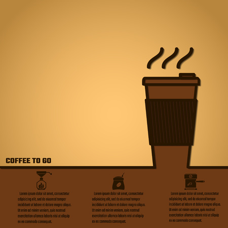 cofee cup: Vector Illustration of Coffee Outline concept for Design, Website, Background, Banner. Coffe beans Element Template for you Restaurant Menu or Infographic. Hot cup Cofee to go outside.