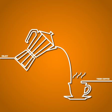to and fro: Vector Illustration of Coffee Outline concept for Design, Website, Background, Banner. Coffe beans Element Template for you Restaurant Menu or Infographic. Hot cup fro pot.