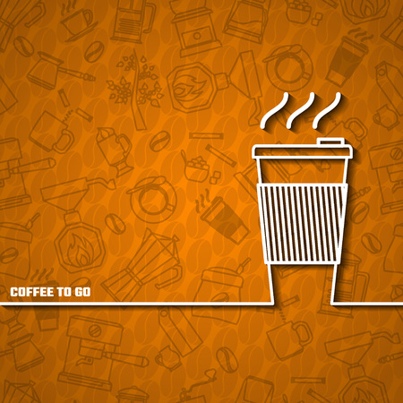 coffe beans: Vector Illustration of Coffee Outline concept for Design, Website, Background, Banner. Coffe beans Element Template for you Restaurant Menu or Infographic. Hot cup Cofee to go outside.