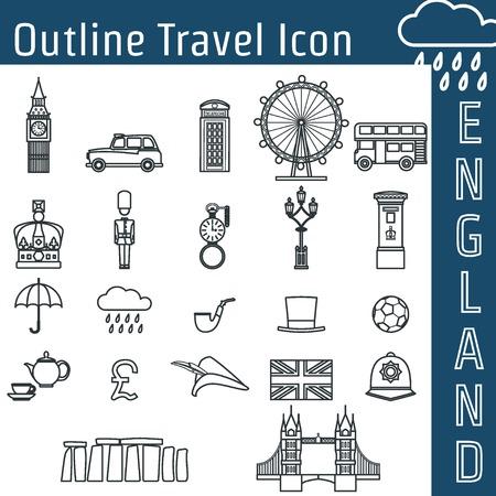 logotipo turismo: Ilustración vectorial de Inglaterra Esquema Icono de diseño, Web site, fondo, bandera. Viaja Bretaña Logo Landmark Plantilla Elemento Silueta de Turismo Flyer. Big Ben, el London Eye, autobús, taxi, Corona