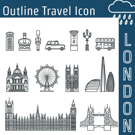 Vector Illustration of London Icon Outline for Design, Website, Background, Banner. Travel Britain Logo Landmark Silhouette  Element Template for Tourism Flyer. Big Ben, Eye,  church, Post, car, bus, St Pauls Cathedra, Skyskrape, parliament