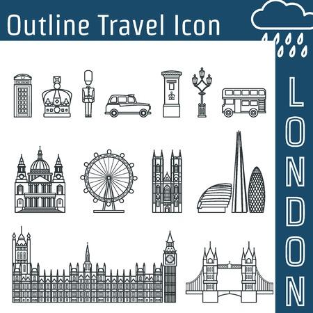 st pauls: Vector Illustration of London Icon Outline for Design, Website, Background, Banner. Travel Britain Logo Landmark Silhouette  Element Template for Tourism Flyer. Big Ben, Eye,  church, Post, car, bus, St Pauls Cathedra, Skys�krape, parliament