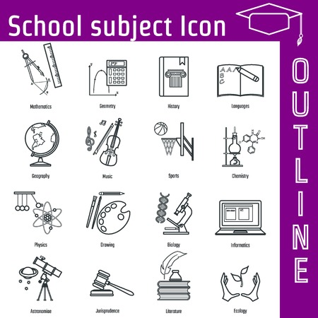 Vector Illustration of Outline School Subject Icon for Design, Website, Background, Banner. Infographic Learning Element for Notebook Template. Study and Science