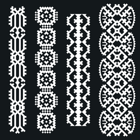 ethno: Vector Illustration of Ethnic Style for Design, Website, Background, Banner. Tribal Elements Black and White Template for border or frame