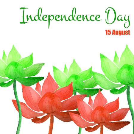 15 august: Vector Illustration of Independence India Day for Design, Website, Background, Banner. Watercolor 15 August flyer card Element Template. Green and orange Illustration