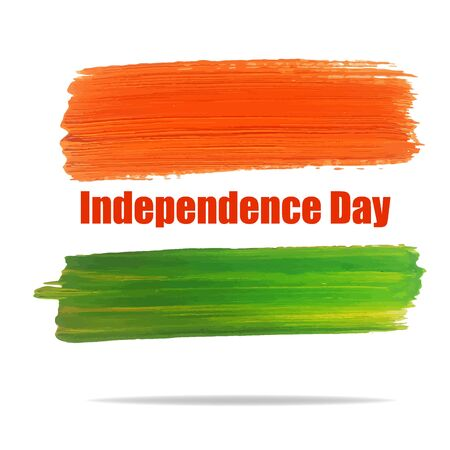 august: Vector Illustration of Independence India Day for Design, Website, Background, Banner. Watercolor 15 August flyer card Element Template. Green and orange Illustration