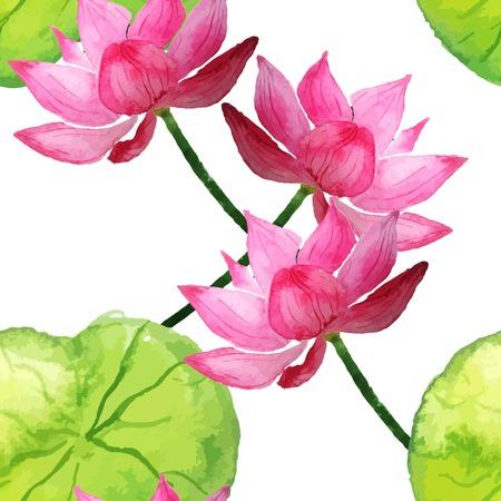 flor de loto: Ilustraci�n del vector de la acuarela sin patr�n de flores y hojas para el dise�o, sitio web, fondo, bandera. Plantilla de elementos de acuarela para la boda o de la tarjeta de felicitaci�n. Conjunto de volante de marca
