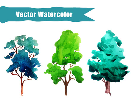 Vector Illustration of watercolour Tree Set for Design, Website, Background, Banner. Summer Paint with Brush Texture Element Template for eco infographic