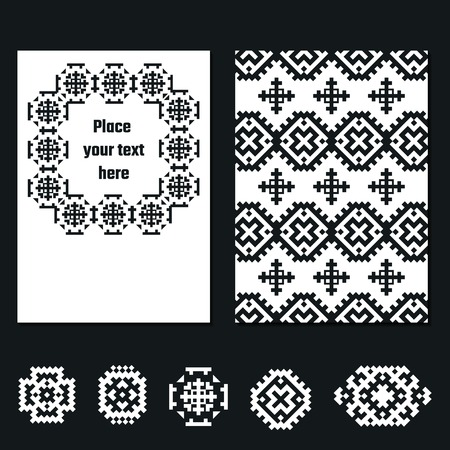 greet: Vector Illustration of Ethnic Style for Design, Website, Background, Banner. Tribal Elements Black and White Template for Flyer, Invitation, greet card. Boho Brand concept Illustration