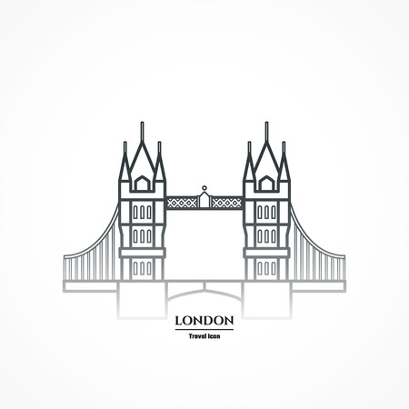 Illustration of Tower bridge Icon Outline Stock Photo