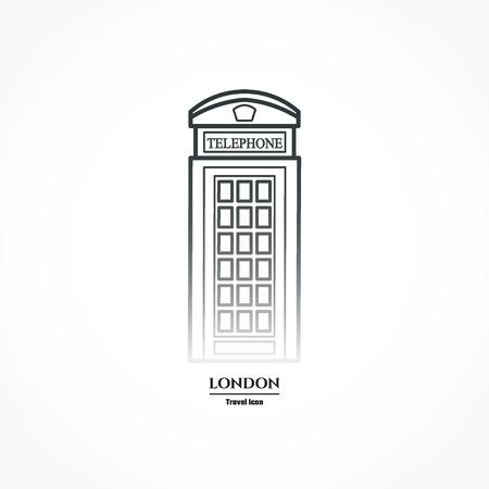 cabina telefono: Ilustración del teléfono Esquema Icono stand