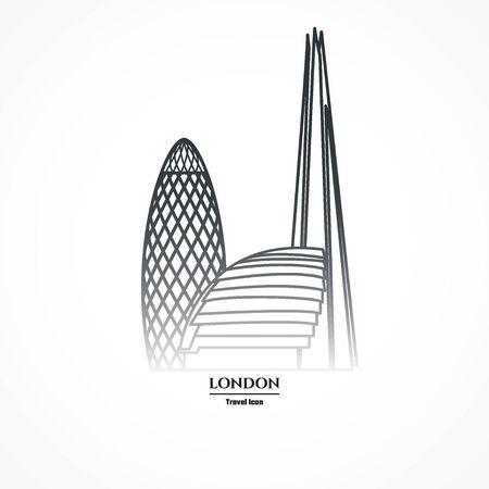 Illustration of London Skyscraper Icon Outline