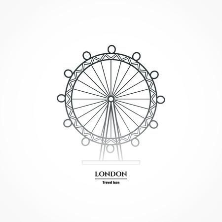 london eye: Illustration of London Eye Entertainment Icon Outline