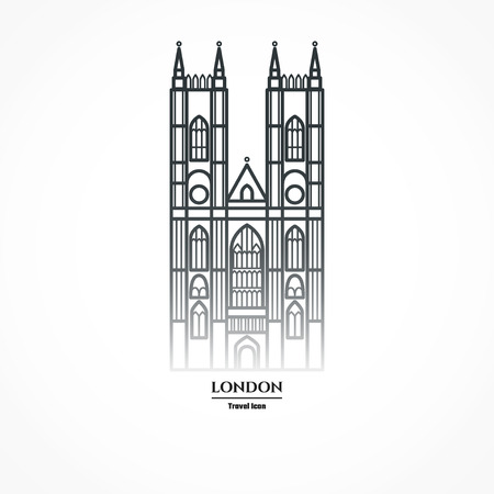 Illustration of Westminster Abbey Icon Outline Stock Photo