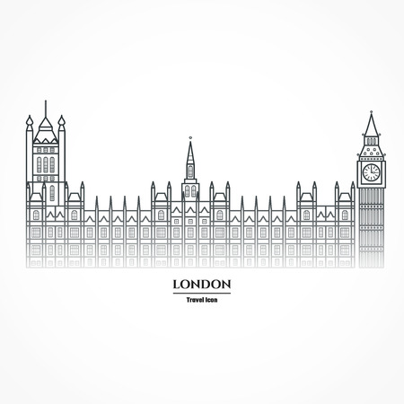 houses of parliament: Illustration of Big Ben and Parliament Icon Outline