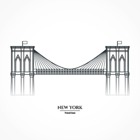 brooklyn: Illustration Outline - Brooklyn Bridge Illustration