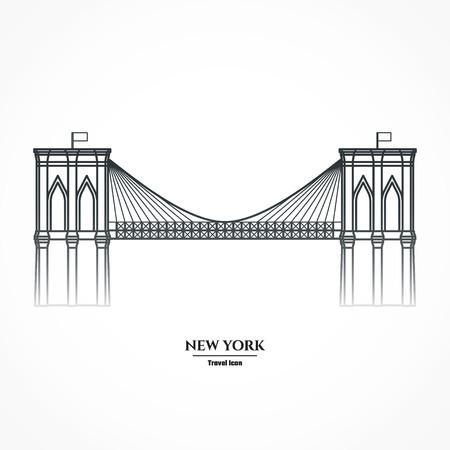 Illustration Outline - Brooklyn Bridge Vettoriali