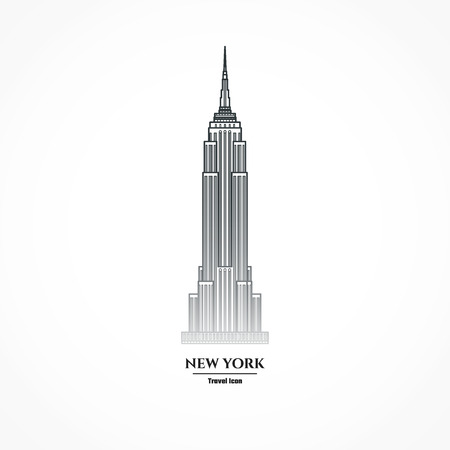 down town: Illustration Outline - New York Skyscraper