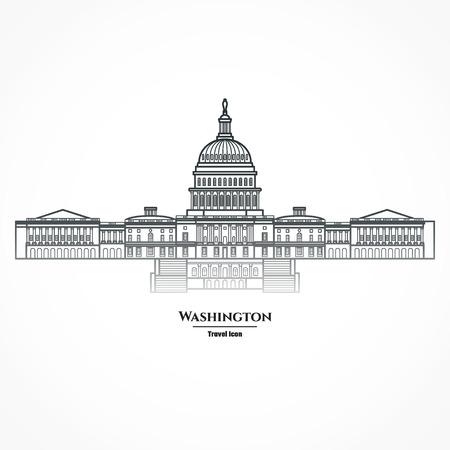Illustration Outline - Washington United States Capitol