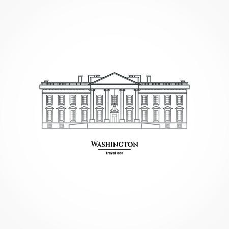 white house: Illustration Outline - Washington United States White House Illustration