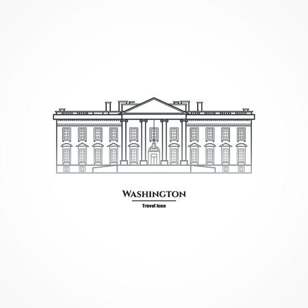 Illustration Outline - Washington United States White House Иллюстрация