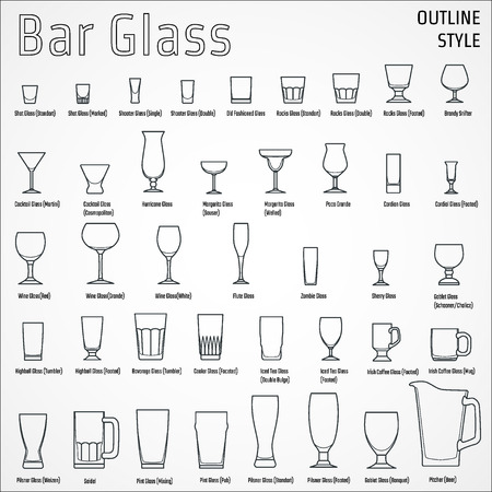 beer glass: Illustration of Bar Glasses Illustration