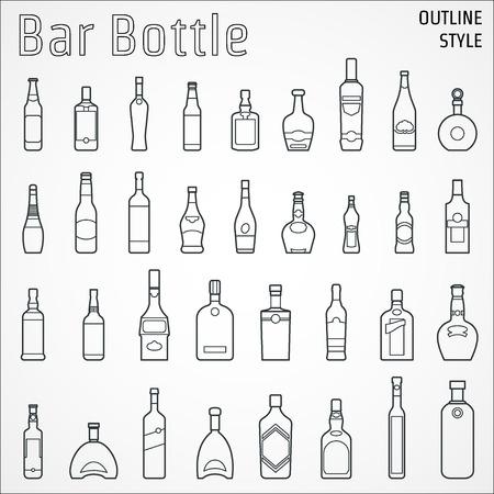 botella de whisky: Ilustración de la barra botella icono del contorno Vectores