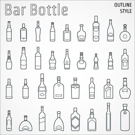 botella de licor: Ilustraci�n de la barra botella icono del contorno Vectores