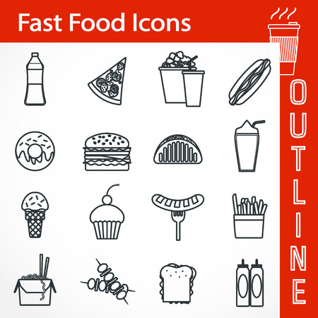 black pictogram: Flat Illustration of Outline FastFood icon