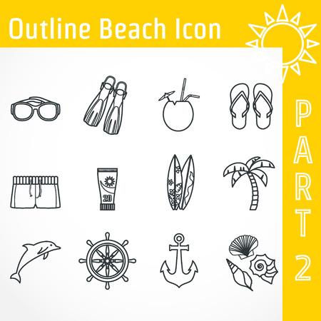 sun block: Illustration of Outline Beach Icon