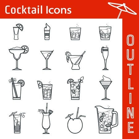 cocktail straw: Illustration of Cocktail Icon Outline  Illustration