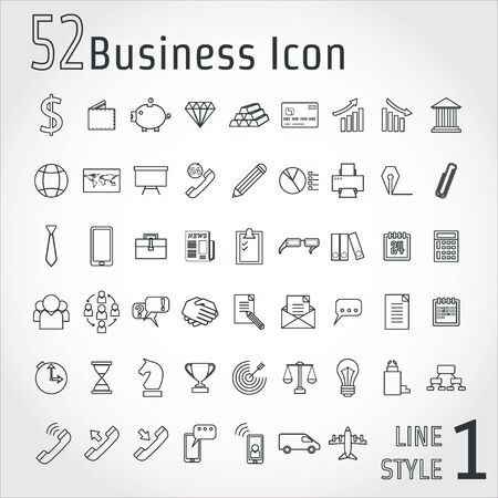 corporate building: Illustration of Business Line Icon Set for Design