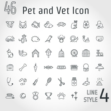 vet: Illustration of Pet and Vet Outline Icon